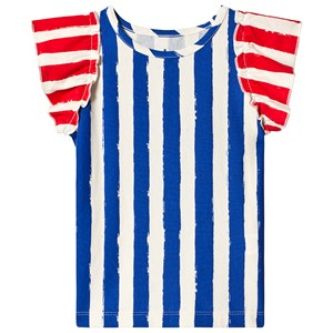 Image of Noe & Zoe Berlin Blue Stripes Print Ruffle Sleeve Tee 2 years (1217943)