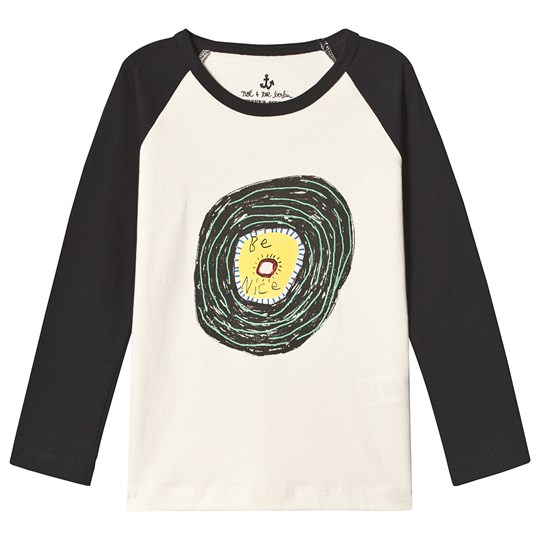 Noe & Zoe Berlin Be Nice Graphic Long Sleeve Raglan Tee Black