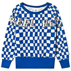 Image of Noe & Zoe Berlin Blue Check Print Rebel Heart Print Sweater 2 years (3125259371)