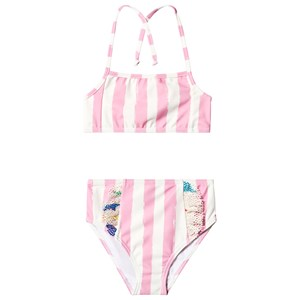 Image of Noe & Zoe Berlin Pink Stripes Print Mesh Ruffle Bikini 2 years (1218064)