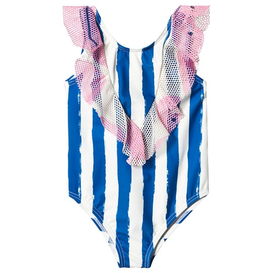 Noe & Zoe Berlin Blue Stripes Print & Pink Mesh Ruffle Swimsuit BLUE STRIPES L