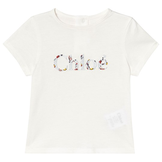 Chloé Floral Branded Baby Tee Off White 117