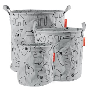 Image of Done by Deer 3-Pack Soft Storage Baskets Grey One Size (1324010)