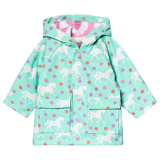 Hatley Galloping Horses Baby Raincoat Turquoise GREEN GALLOPING HORSES