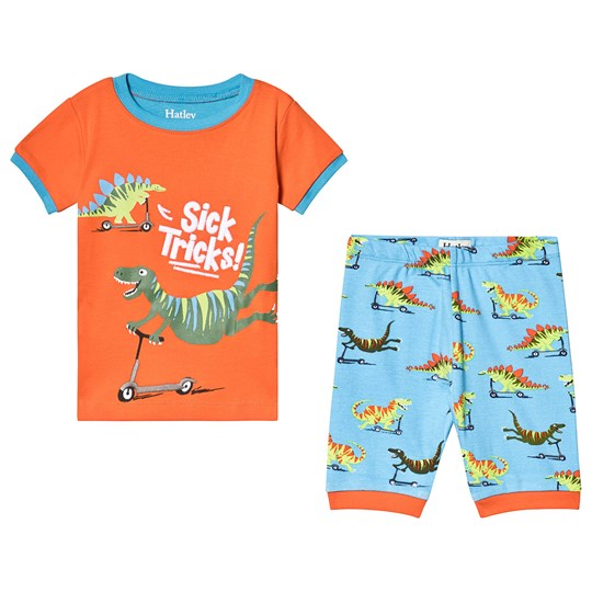 Hatley Scooting Dinos Short Pajama Set Orange and Blue ORANGE SCOOTING DINOS