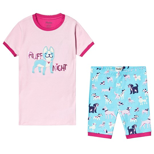 Hatley Playful Pooches Short Pajama Set Pink and Blue PINK POOCHES