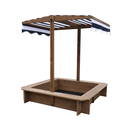 Oliver & Kids Sandbox With Canopy 117*117*117 cm Brown/Navy Blue