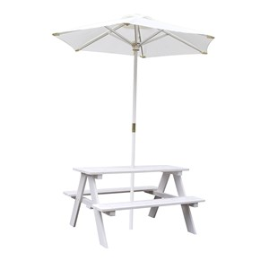 Image of Oliver & Kids Picnic Table with Parasol White (3125327995)