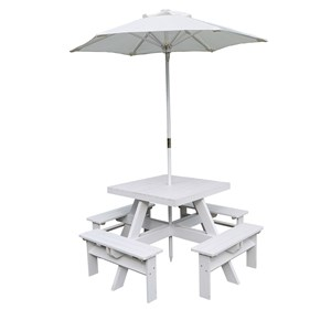 Image of Oliver & Kids Squared Picnic Table with Parasol White (3125328029)