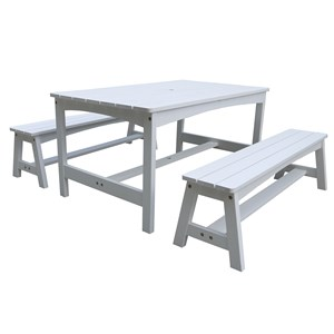Image of Oliver & Kids Table with Two Benches White (3125328109)