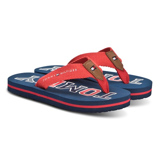 Tommy Hilfiger Navy and Red Logo Fabric Flip Flops X040