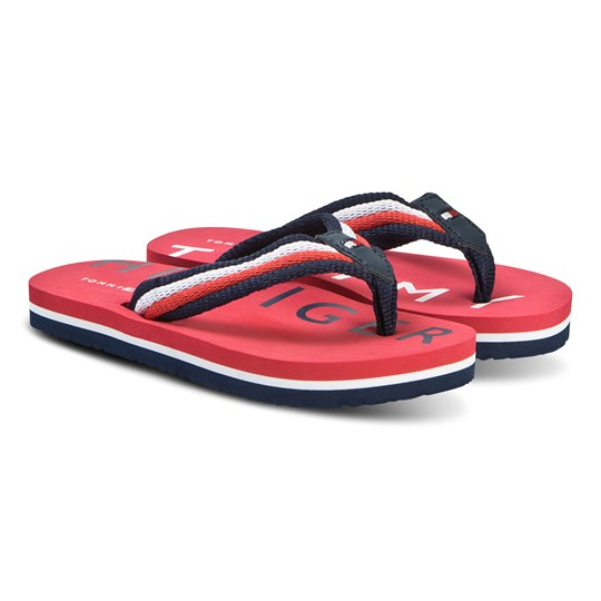Tommy Hilfiger Red White and Blue Logo Fabric Flip Flops X050