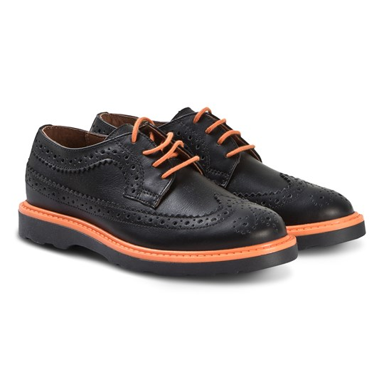 Paul Smith Junior Brogues Shoes Black and Orange 02
