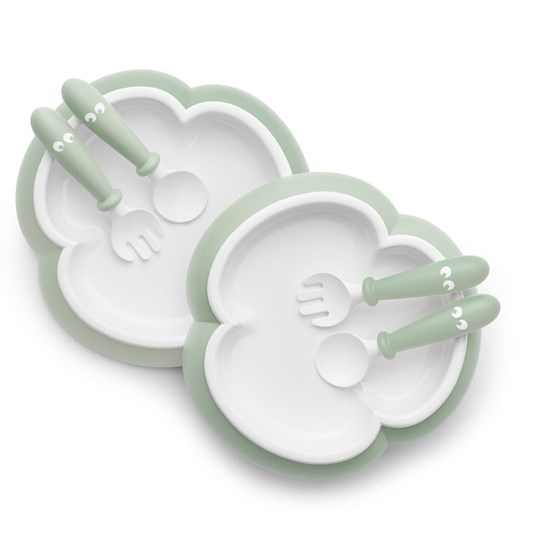 Babybjörn Baby Plate, Spoon and Fork Set Powder Green Powder Green