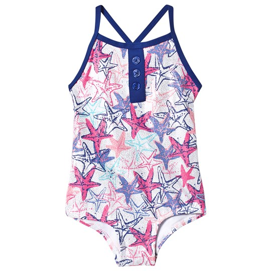 Hatley Snazzy Starfish Colorblock Swimsuit White SNAZZY STARFISH