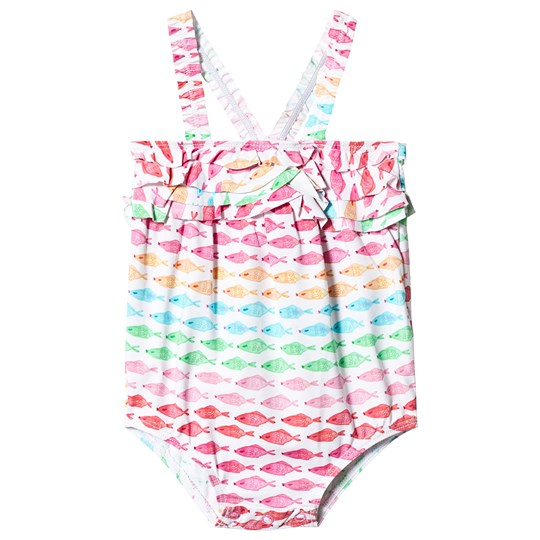 Hatley Watercolor Fishies Ruffled Swimsuit White WATERCOLOUR FISHIES