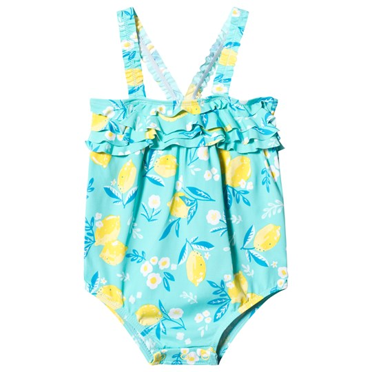 Hatley Cute Lemons Ruffled Swimsuit Turquoise BLUE LEMONS