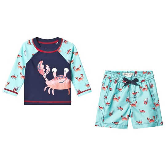 Hatley Navy and Turquoise Silly Crustaceans Rashguard Set BLUE CRUSTACEANS