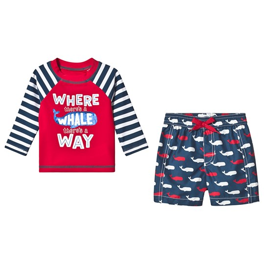 Hatley Red and Navy Whale Pod Rashguard Set RED AND NAVY WHALES