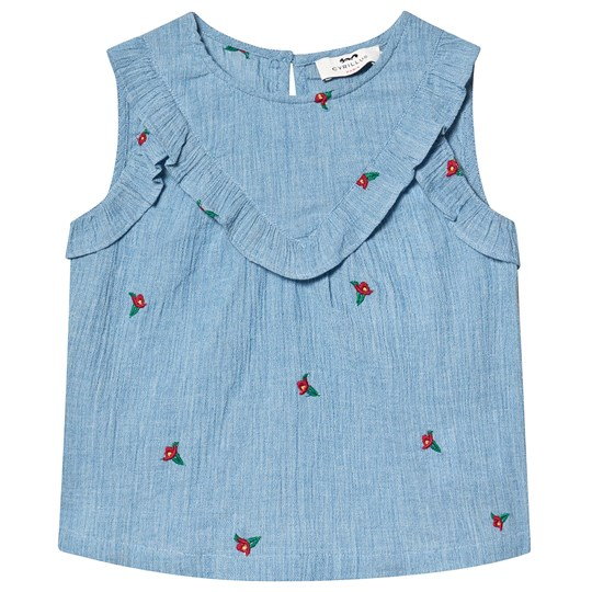 Cyrillus Blue Floral Embroidered Frill Blouse FloraStriped