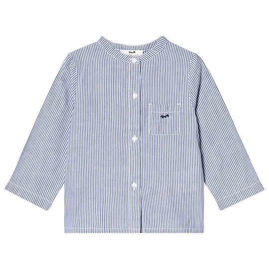Cyrillus Blue and White Stripe Collarless Shirt StripedNavy/OpticalWhite