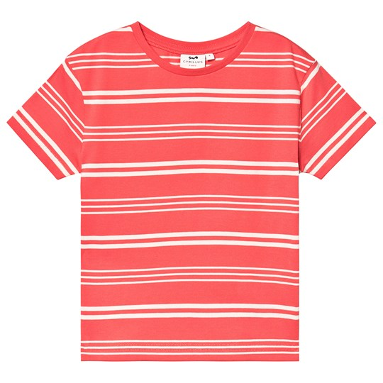 Cyrillus Coral Stripe Tee Coral/Offwhite
