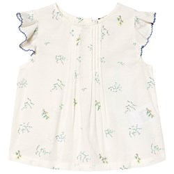 Cyrillus White Floral Embroidered Blouse
