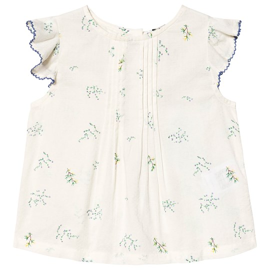 Cyrillus White Floral Embroidered Blouse PrintedBotanic