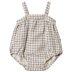 Image of Oeuf Check Strap Romper Beige/Blue 6 mdr (3125359399)