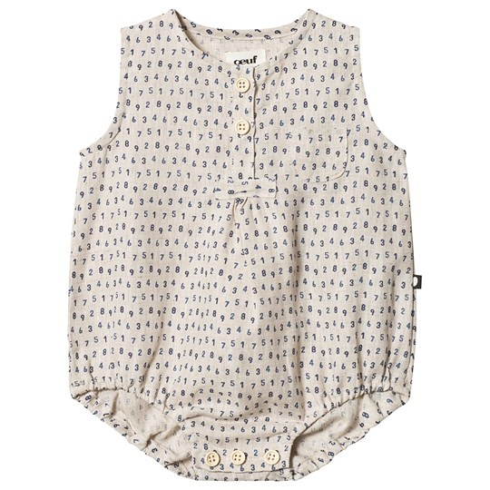 Oeuf Numbers Button Romper Beige beige/numbers