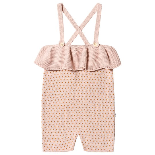 Oeuf Dots Ruffle Knit Romper Light Pink/Ochre light pink/ochre dots