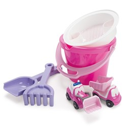 Dantoy Bucket set with 2 vechicles, Pink
