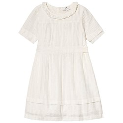 Cyrillus White Seersucker and Lace Detail Dress