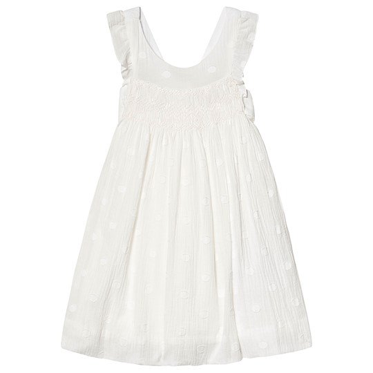 Cyrillus White Smock Detail Frill Dress White