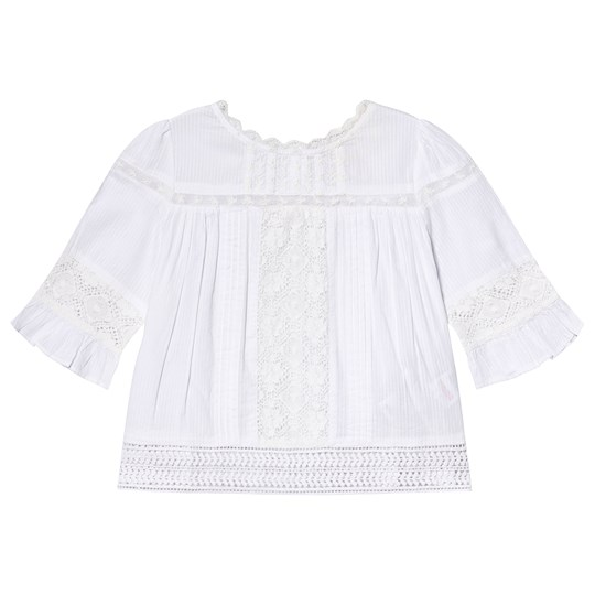 Cyrillus White Lace Detail Frill Blouse 白色