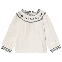 Cyrillus White and Navy Smock and Embroidered Blouse