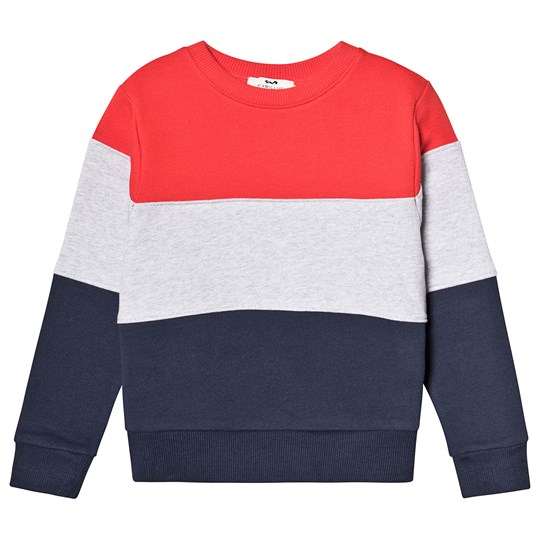 Cyrillus Red, Navy and Grey Stripe Sweatshirt Grey/Navy/Red