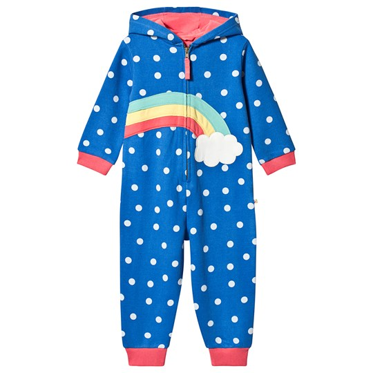 Frugi Big Snuggle Onesie Blue Sail Blue Polka Dot/Rainbow