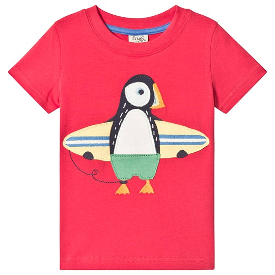 Frugi Stanley Applique Tee Red Tomato/Puffin