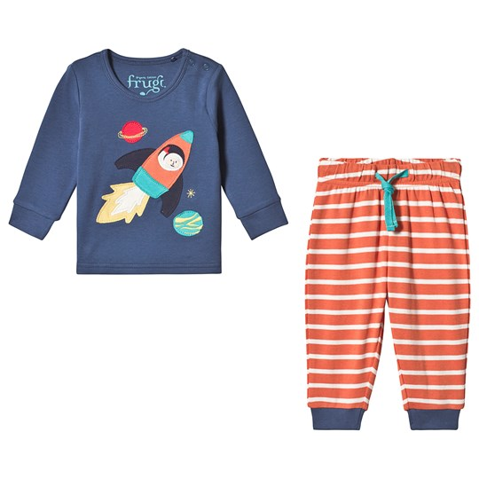 Frugi Little Long John Pajamas Navy Marine Blue/Rocket