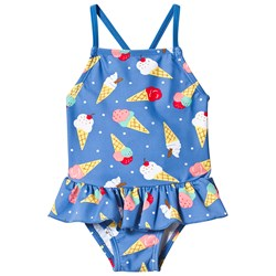 Frugi Little Coral Swimsuit Blue