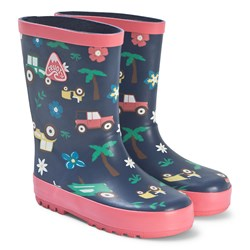 Frugi Puddle Buster Rain Boots Marine Blue Tractors