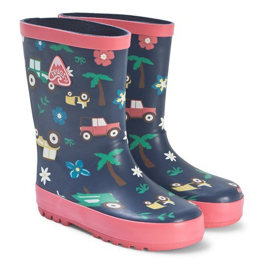 Frugi Puddle Buster Wellies Marine Marine Blue Tractors
