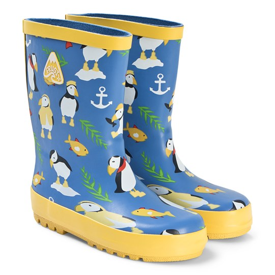 Frugi Puddle Buster Wellies Blue Sail Blue Paddling Puffins