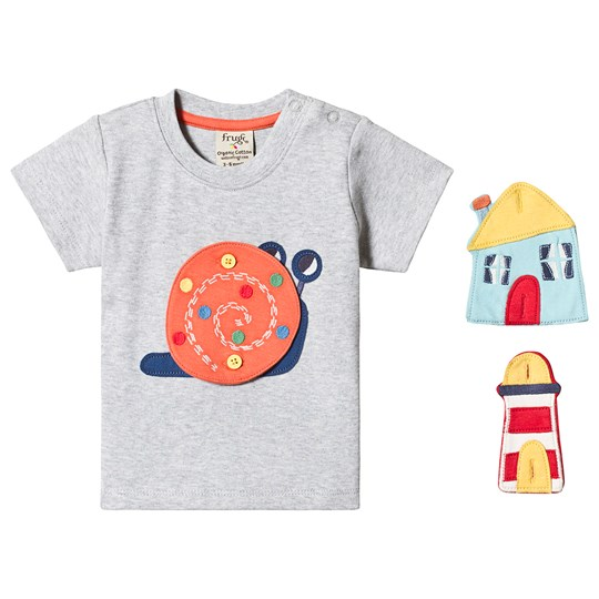 Frugi Button Off Applique Tee Grey Grey Marl/Snail