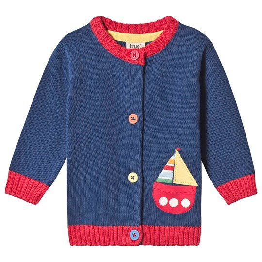 Frugi Little Happy Day Cardigan Navy Marine Blue/Boat