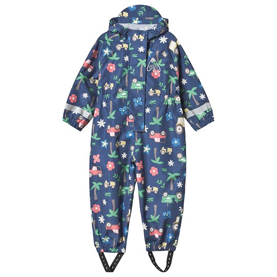 Frugi Puddle Buster Rain Coverall Navy Marine Blue Tractors