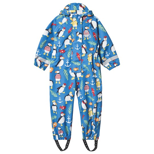 Frugi Puddle Buster Rain Coverall Blue Sail Blue Paddling Puffins