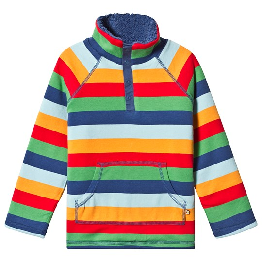Frugi Snuggle Fleece Multi Stripes Multi Rainbow Stripe