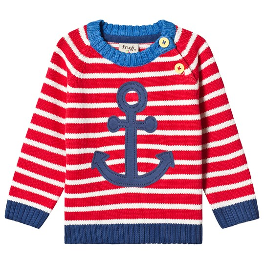 Frugi Little Finn Knitted Sweater Red Tomato Stripe/Anchor